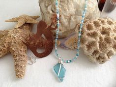 "Teal Sea Glass pendant on ""Miami surf"" beaded necklace by WaterSpirits Jewelry"