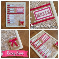 'Lacey Love' Meal Planner. $50 + postage or local pick up Springfield Lakes. Visit my FB page 'Handmaid's Haven' for more info or to place an order.