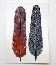 Original Painting  Modern Feather Art  Watercolor by RiverLuna, $60.00