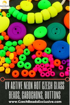 UV Active Neon Hot Czech Glass Beads, Cabochons, Buttons | SAVE it! | CzechBeadsExclusive.com #czechbeadsexclusive #czechbeads