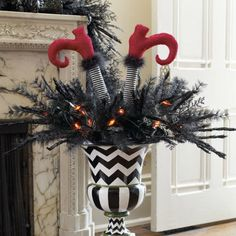 Black Wicked Urn Filler - fun for front porch - JT