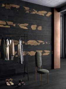 Kasai - Burnt Wood Effect Tiles Japanese Bathroom, Wood Effect Tiles, Black Tiles, Ceramic Techniques, Diy Bathroom Decor, Small Bathroom, Bathrooms, Japanese Design, Japanese Style