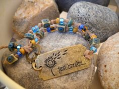 JUST BREATH Antique Brass Beaded Suede Bracelet by Beads4You2008,