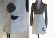 Cowl Neck Sweater Dress S/M by RebeccasArtCloset on Etsy