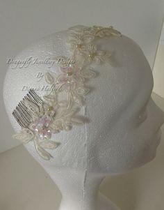 Cream ivory lace head piece Swarovski pearls by DragonflyWeddings, £39.00