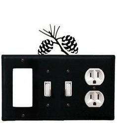 Pinecone - Single GFI, Double Switch and Single Outlet Cover by Village Wrought Iron. $18.32. Pinecone - Single GFI, Double Switch and Single Outlet CoverApprox. 8 1/4 In. W x 8 In. H Please allow 4 to 6 weeks for delivery.