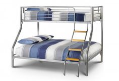A sturdy metal triple sleeper that features a single 90cm bed on top and a double 135cm bed on the bottom. The Atlas encorporates solid wooden ladder rungs into the sleek design. Due to Bunk Bed Safety Regulations, only the Premier Mattress is suitable for use on the upper bunk.