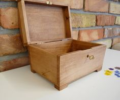 Lockable Natural Wooden Box with Lid and a key Storage Chest Keepsake Wedding
