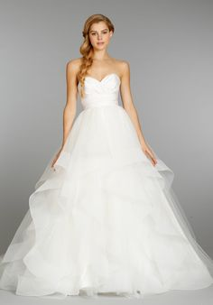 This Hayley Paige ballgown with radzmir crossover bodice and full tulle skirt, seriously makes my jaw-drop. Love, love, LOVE!