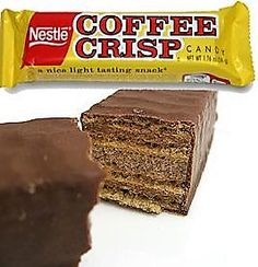 Coffee Crisp, another Canadian chocolate bar, made until the by Rowntrees, when Nestle took over operations. Retro Chocolate Bars, Canadian Chocolate Bars, Canadian Candy, Canadian Cuisine, Canadian Food, Canadian Things, Best Candy, Favorite Candy, Canada Trip