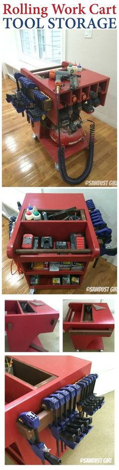 Rolling work cart with tons of organized tool storage!