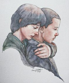 Stranger Things Fan Art of Mike and El by Trishna Gaara. Watercolor drawing insp… Stranger Things Fan Art of Mike Stranger Things Tumblr, Stranger Things Aesthetic, Stranger Things Season 3, Eleven Stranger Things, Stranger Things Netflix, Stranger Things Tattoo, Gaara, Couple Art, Art Drawings