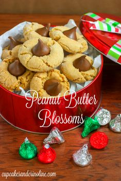 Peanut Butter Blossom Cookies -- a classic recipe for Christmas cookies!