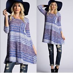 """Hacci Stripe Tunic / Dress with Pocket --- Sz L Hacci Stripe Tunic / Dress with Pocket---Blue & orange colorway available---3/4 sleeves---Hacci Stripe Fabric--- 52% rayon 45% polyester 3% spandex ---Made in USA---Length---Small 33""""---Medium 34""""--- Large 34.5""""---True to size Boutique Tops Tees - Long Sleeve"""