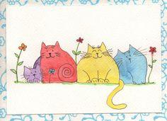 Cat friends in the Garden Watercolour Original art by Coloraudia, $16.00