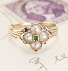 Regency Pearl and Emerald Quatrefoil Ring. This would make a lovely pinky ring.