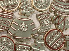 Christmas sweater and stocking cookies. Decorated sugar cookies with royal icing