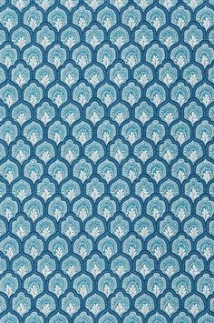 Fabrics - Printed fabric in aqua and turquoise.