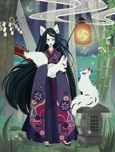 Yokai Japanese Kitsune by Merih Japanese Mythology, Japanese Folklore, Japanese Urban Legends, Japan Art, Pretty Art, Anime Art Girl, Les Oeuvres, Art Inspo, Art Reference