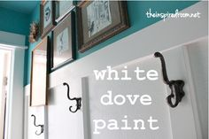 Benjamin Moore, Satin Impervo White Dove.  The turquoise walls in this room are Lagoon by Martha Stewart.