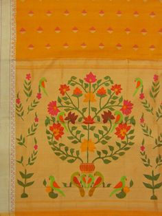 Paithani Saree flower plant design