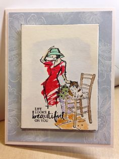 Love the new Beautiful You stamp set from Stampin UP paired with new set Mediterranean Moments and water colors.