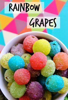 3 ingredient Rainbow Grapes have a fun crunchy shell and make a great dessert swapout or colorful party snack! (AD)These 3 ingredient Rainbow Grapes have a fun crunchy shell and make a great dessert swapout or colorful party snack! Bolo Halloween, Halloween Foods, Halloween Stuff, Trolls Birthday Party, Troll Party, Birthday Party Snacks, Birthday Sweets, Toddler Birthday Parties, Healthy Birthday Snacks