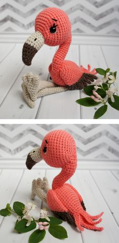 Crochet fabulous bright pink crochet flamingo toy. It's the perfect companion for a fashionable baby.