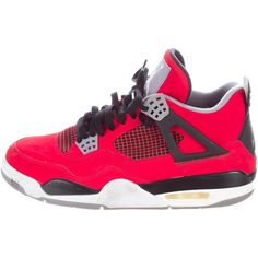 Nike Air Jordan 4 Retro Sneakers ($375) ❤ liked on Polyvore featuring men's fashion, men's shoes, men's sneakers, red, mens red suede shoes, mens shoes, mens red tie, colorful mens shoes and mens ties