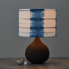 "Small ""Tesugi"" spaced striped shibori lampshade in indigo blue Romor Designs Design Your Home, House Design, Indigo Blue, Design Crafts, Shibori, Table Lamp, Textiles, Wall, Furniture"