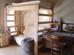 """When you have a 3 bedroom home and 3 children all wanting their own """"bedroom"""", this diy loft bed project just might be the answer you need. AND, if someone is heading off to college, even better."""