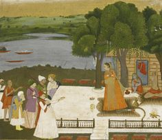 A Yogini at her Hermitage Being Visited by Devotees  Opaque watercolour heightened with gold on paper  image 8 by 9 3/8 in. (20.4 by 23.7 cm)   India, Kishangarh, circa 1720-40
