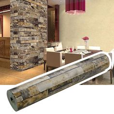 Brick Wallpaper, Textured, Waterproof for Home Design and Room Decoration, Super Large Size 10m x 0.53m / 393.7'' x 21''