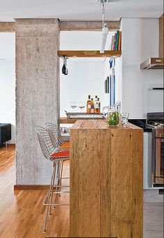 The concrete and wood textures in this space are amazing.