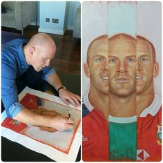 Paul O'Connell kindly signing a print for charity.