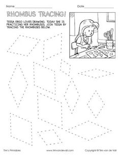 Area Worksheets, Shapes Worksheets, Teacher Worksheets, Tracing Worksheets, Kindergarten Worksheets, Rhombus Shape, Square Roots, Home Learning, 5th Grades
