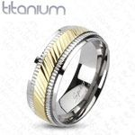 Ladies Solid Titanium Wedding Band with raised center Gold IP band. ECA LISTING BY Sharon Early's Tite Brite Gifts, No Palm Springs, California, United States
