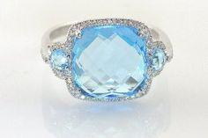 Lauray's Blue Topaz Ring in 14 Karat White Gold @Lauray's The Diamond Center