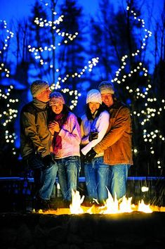 Cuddle up around a fire after a day on the slopes.