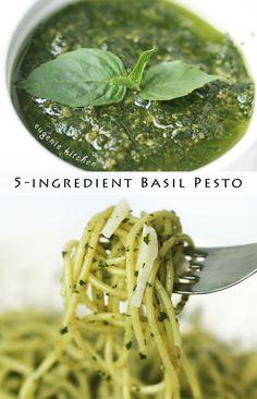 5-Ingredient Basil Pesto Pasta Sauce - No-Cook Recipe. Ingredients: basil, pine nuts, parmesan, garlic, and olive oil.