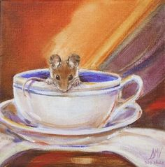 """Tea  For One""     Mouse in a Tea Cup, painting by artist Art Helping Animals"
