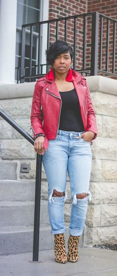 Sweenee Style, Express High Waisted Distressed Original Girlfriend Jeans, Zara Moto Jacket, Steved Madden Leopard booties, Indy Style
