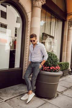Light gray dress shirt + gray trousers + white sneakers