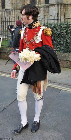 Tom Hughes as Prince Albert, filming the Royal wedding at Beverley Minster, February 24, 2016.