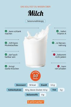 Milch in 2019 Healthy Eating Tips, Healthy Life, Healthy Recipes, Milk Nutrition, Healthy Nutrition, Quest Nutrition, Nutrition Tips, Vegetable Drinks, Food Facts