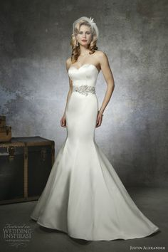 justin alexander bridal spring 2013 wedding dress style 8659 strapless satin mermaid gown