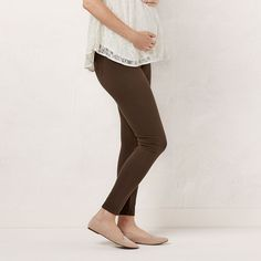 Maternity LC Lauren Conrad Twill Leggings, Women's, Size: Xxl Tl-Mat, Green