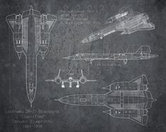 SR-71 Blackbird airplane blueprint art - 8 x 10 print on Etsy, $25.00