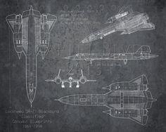 SR-71 Blackbird airplane blueprint art - 8 x 10 print on Etsy, $25.00