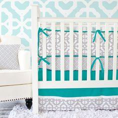 Caden Lane Baby Bedding - Teal and Gray Mod Baby Bedding, $172.00 (http://cadenlane.com/teal-and-gray-mod-baby-bedding/)